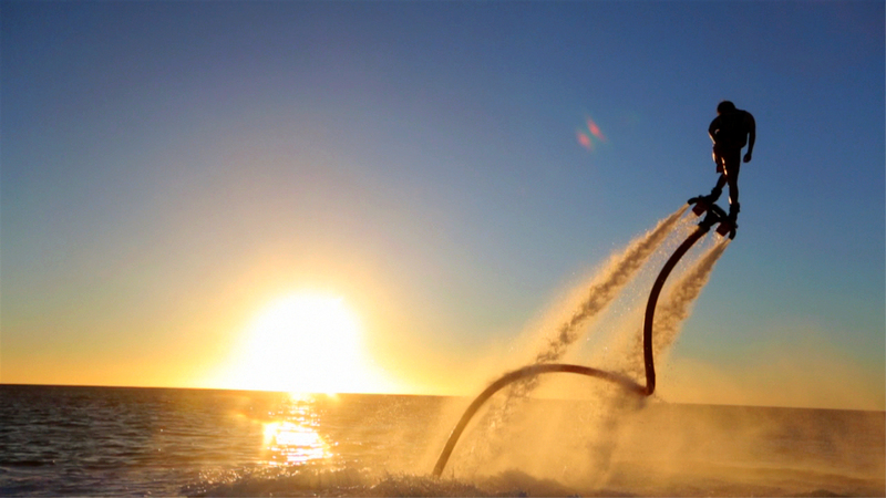 flyboard on sunset