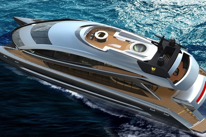 Royal Falcon One built a distinguished catamaran looking like UFO