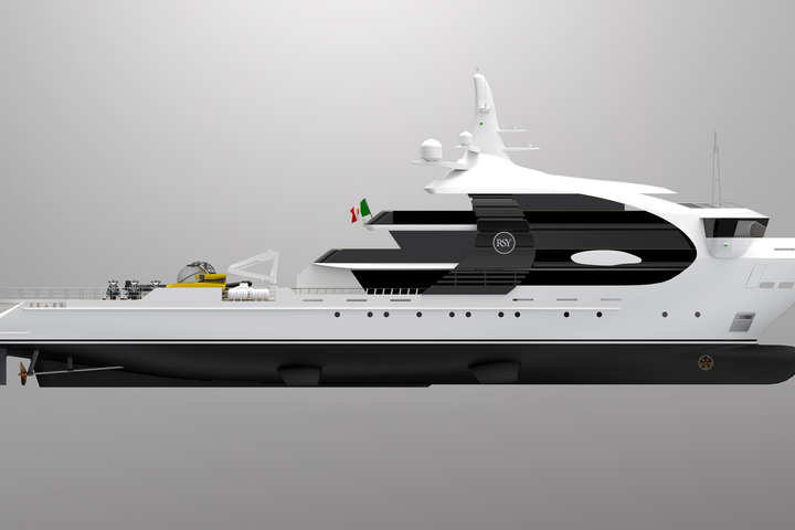 The Rosetti Superyachts presented a yacht looking like a killer whale