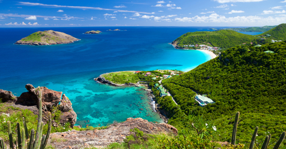 High angle view of anse des flamands in st barths
